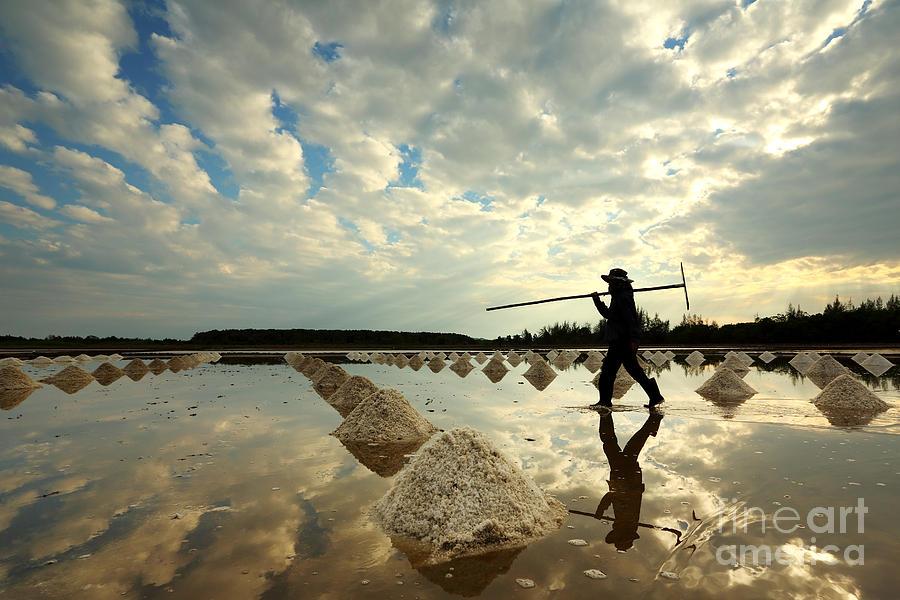 Pile Photograph - Salt Farm In Eastern, Thailand by Isarescheewin
