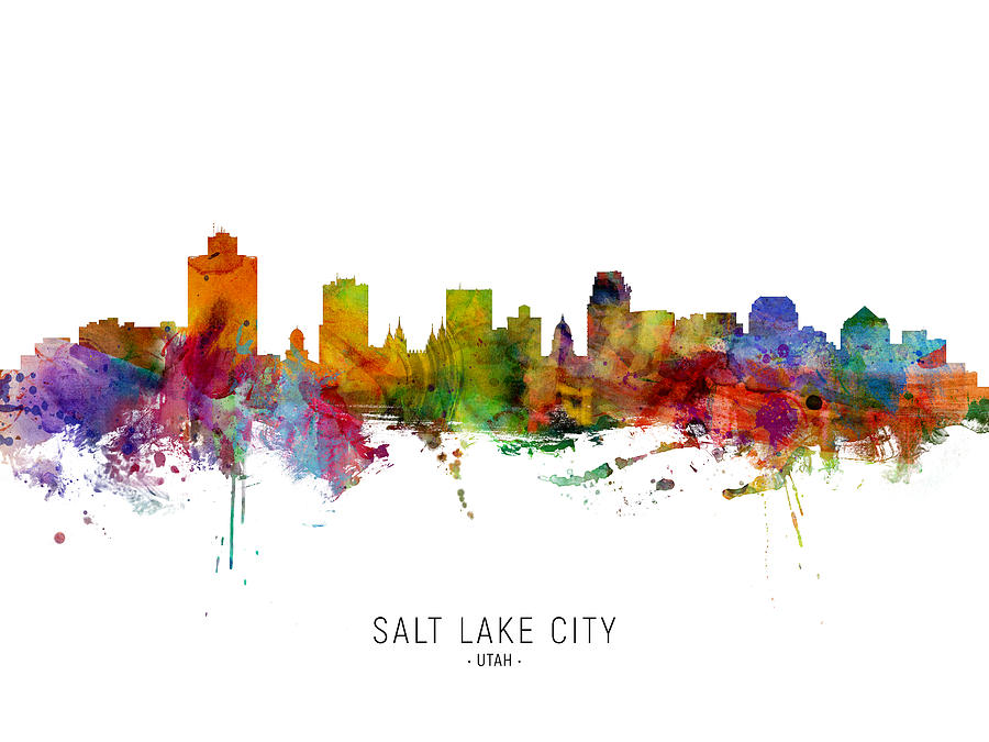 Salt Lake City Digital Art - Salt Lake City Utah Skyline by Michael Tompsett