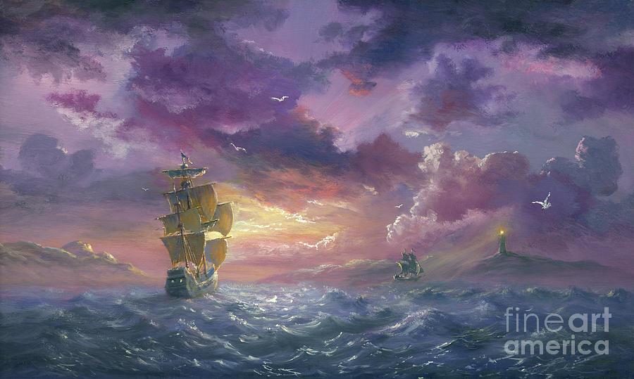 Sea Evening Excited Digital Art by Pobytov
