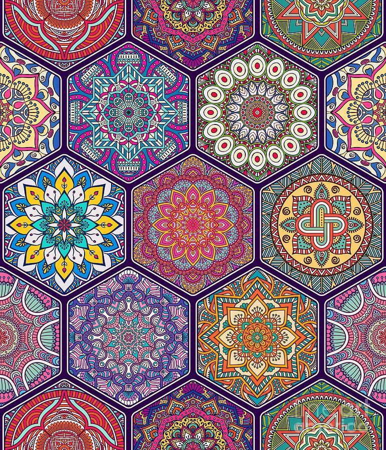Pakistan Digital Art - Seamless Pattern. Vintage Decorative by Visnezh