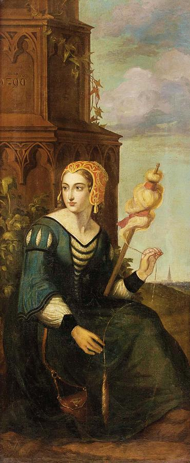 Woman Painting - Seated Noble Lady With Distaff Before Gothic Tower And Landscape View by MotionAge Designs