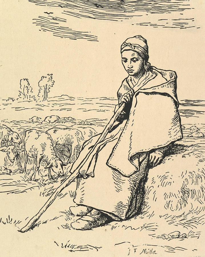 Seated Shepherdess by Jean-Francois Millet