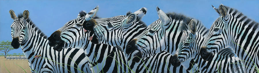 Zebra Painting - Serengeti Serenade by Durwood Coffey