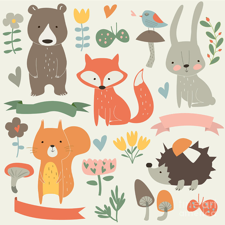 Forest Digital Art - Set Of Forest Animals In Cartoon Style by Kaliaha Volha