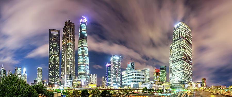 Shanghai Skyline Photograph by Junyyeung