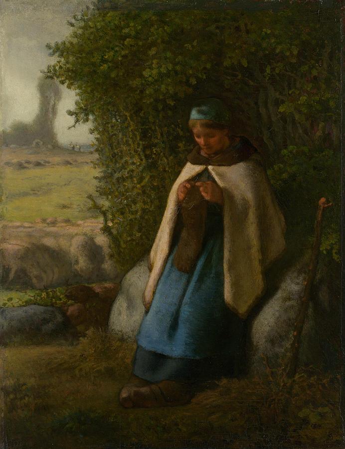 Shepherdess Seated on a Rock by Jean-Francois Millet