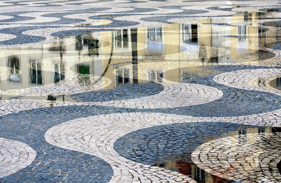 Sidewalk In Lisbon, Portugal Photograph by Typo-graphics
