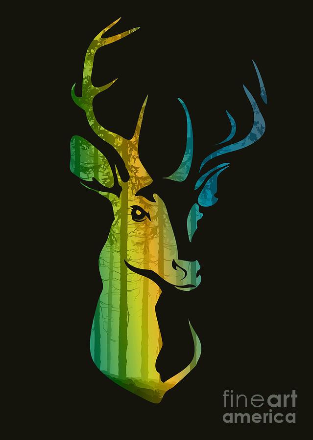Deer Digital Art - Silhouette Of A Head Of A Deer With by Eva mask
