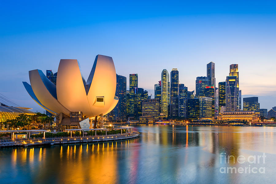 Country Photograph - Singapore Skyline At The Marina During by Sean Pavone