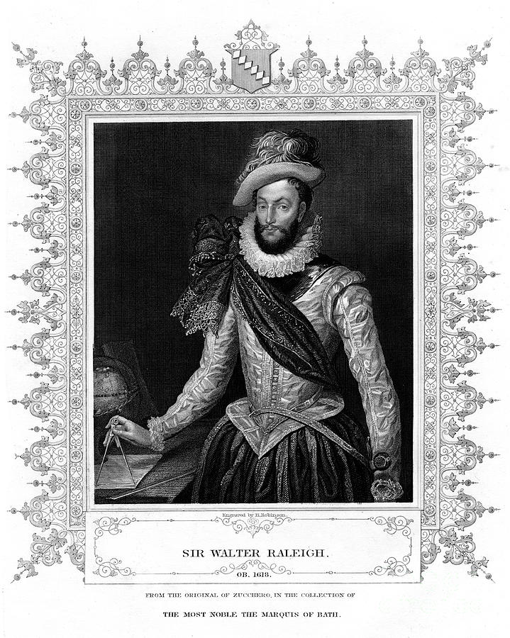 Sir Walter Raleigh, Writer, Poet Drawing by Print Collector