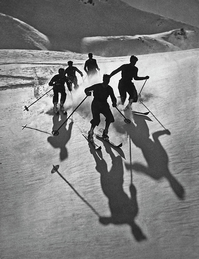 Skiers And Shadows Photograph by Archive Photos