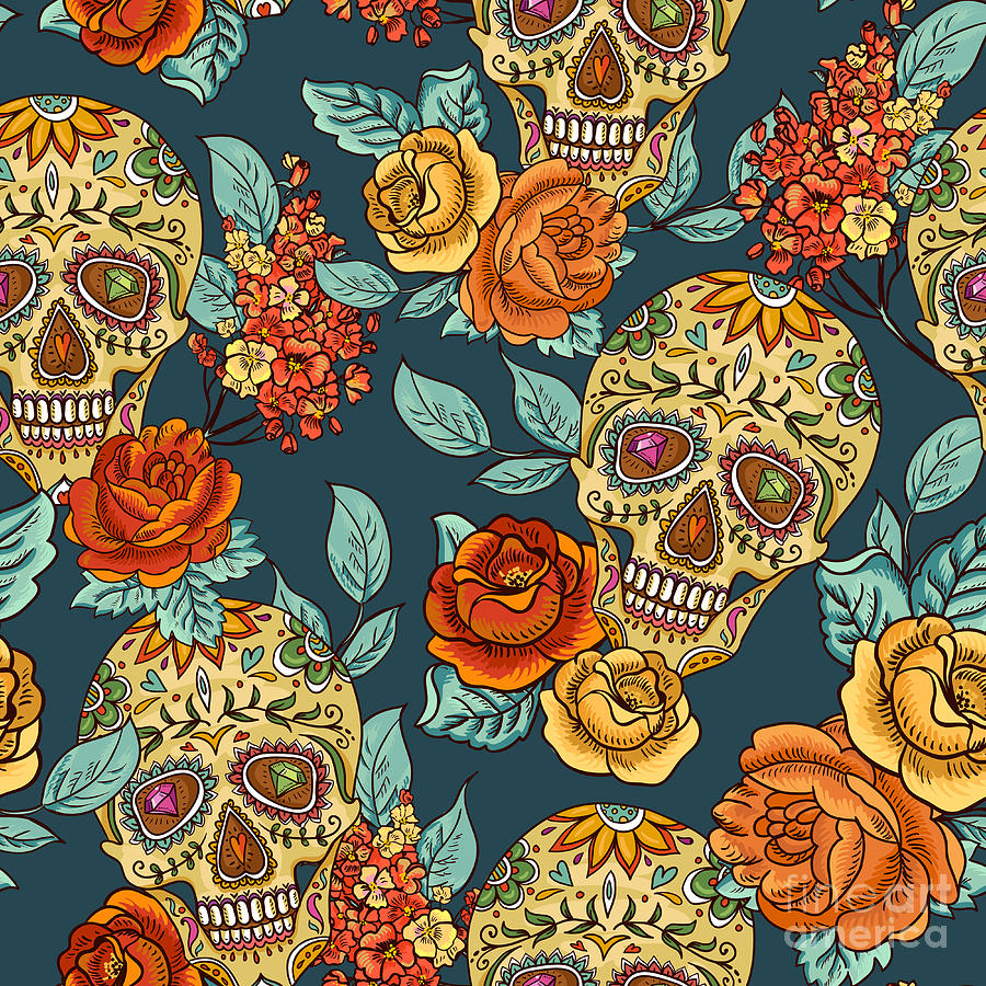 Symbol Digital Art - Skull And Flowers Seamless Background by Depiano