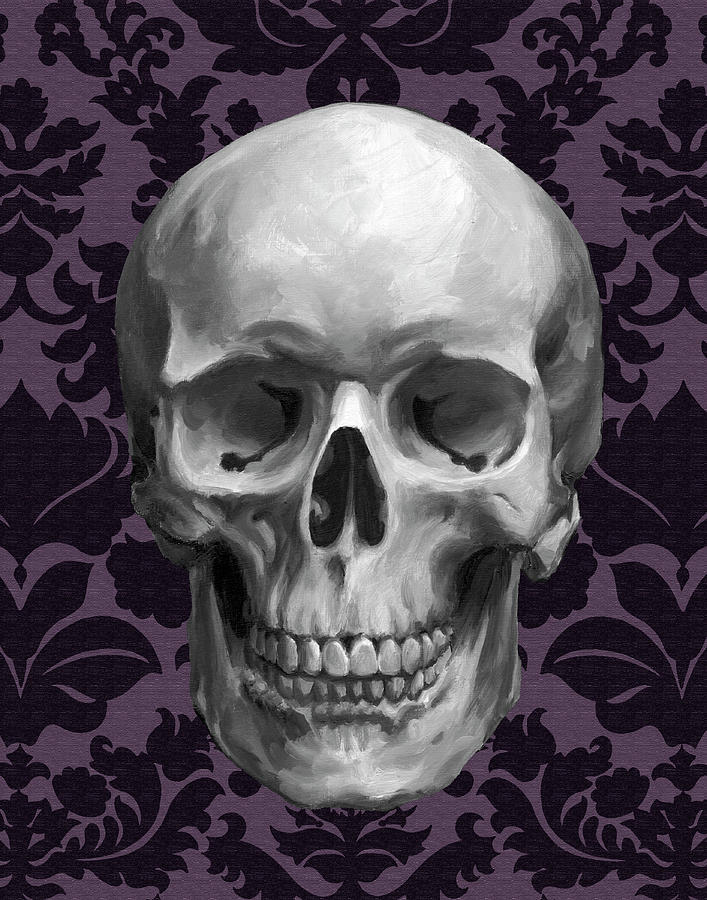 Holiday Painting - Skull On Damask by Ethan Harper