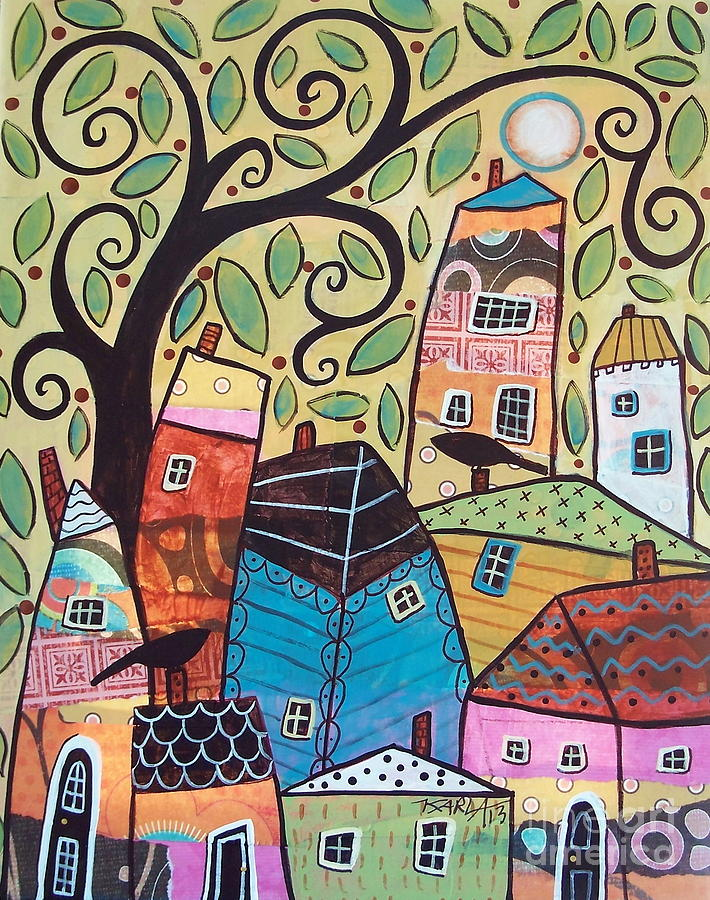Crows Painting - Mixed Media Village by Karla Gerard