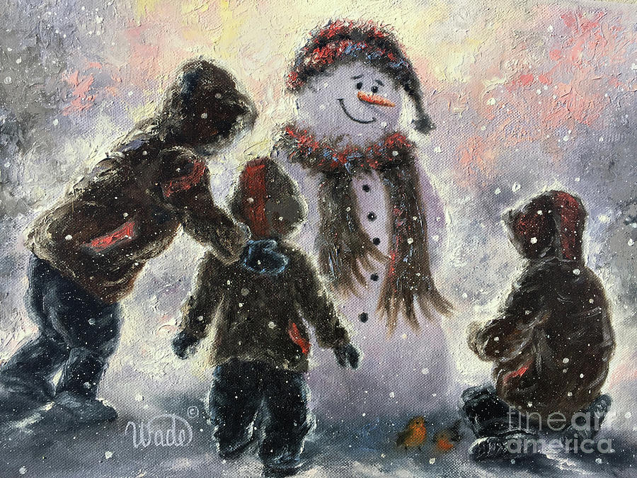 Three Brothers Painting - Snowman And Three Boys by Vickie Wade