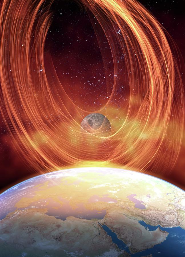 Solar Flare Hitting Earth, Artwork Digital Art by Victor Habbick Visions
