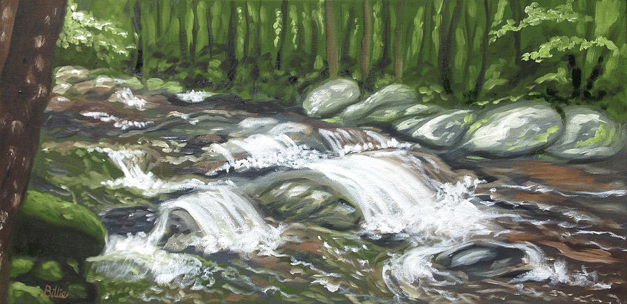 Oil Painting Painting - Asheville Mountain Stream by Billie Mann