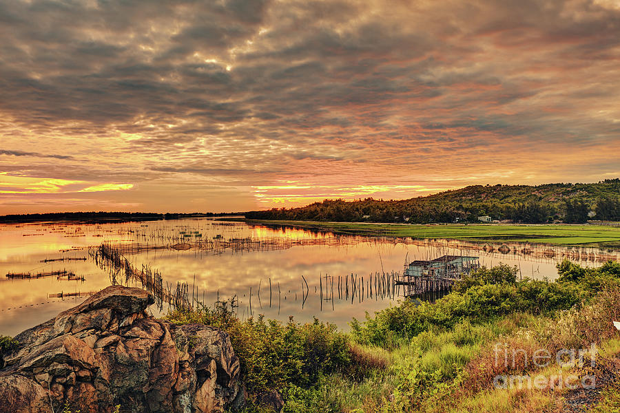 Lake Photograph - South asia rural sunrise landscape. by MotHaiBaPhoto Prints