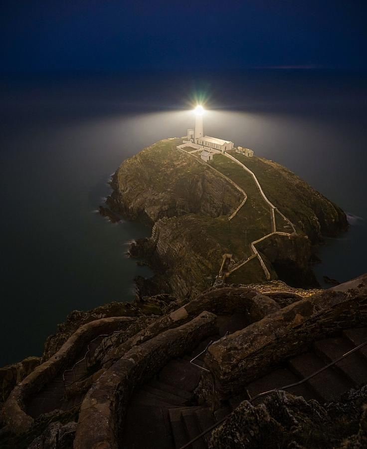 South Stack Lighthouse In Wales Seen At Night Photograph