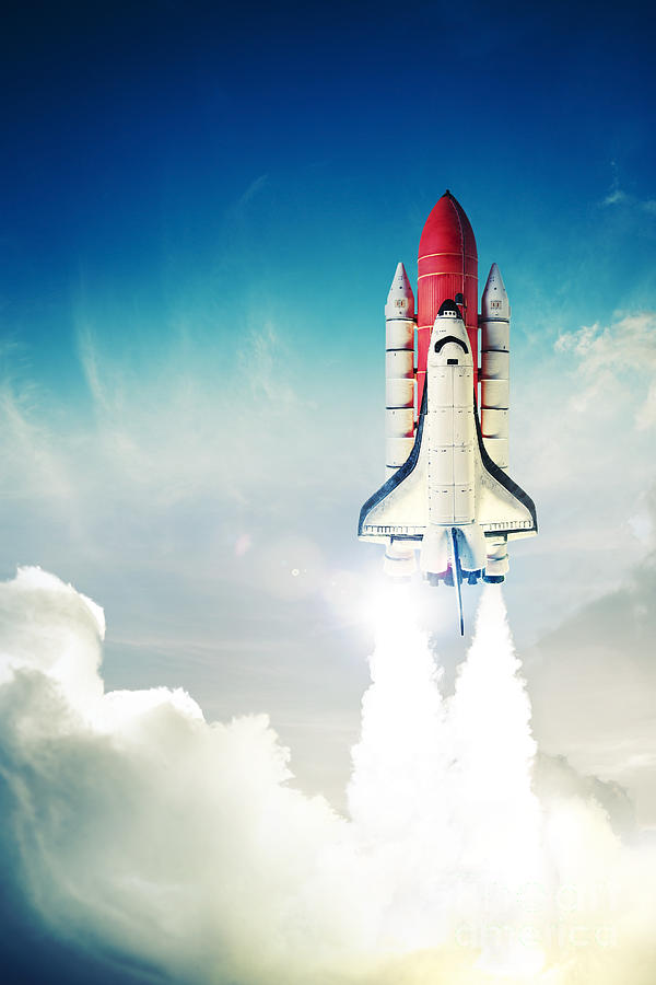 Rocket Photograph - Space Shuttle Taking Off On A Mission by Fer Gregory