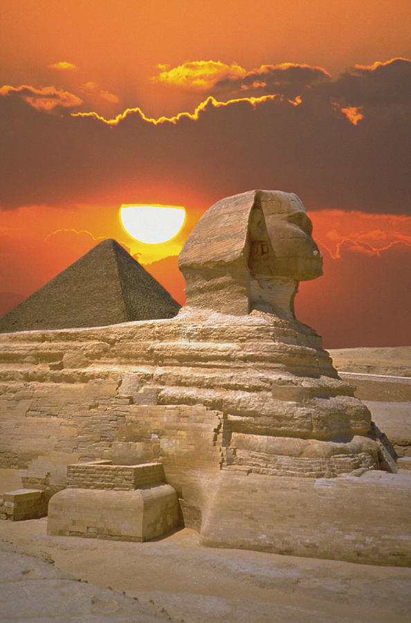 Sphinx And Pyramid At Sunset Photograph by Fotopic