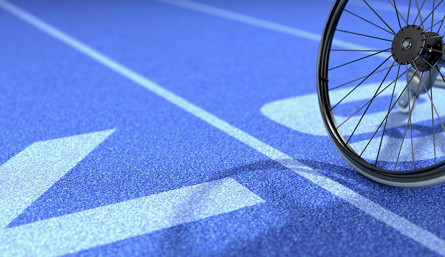 Sports Wheelchair On Athletics Track Digital Art