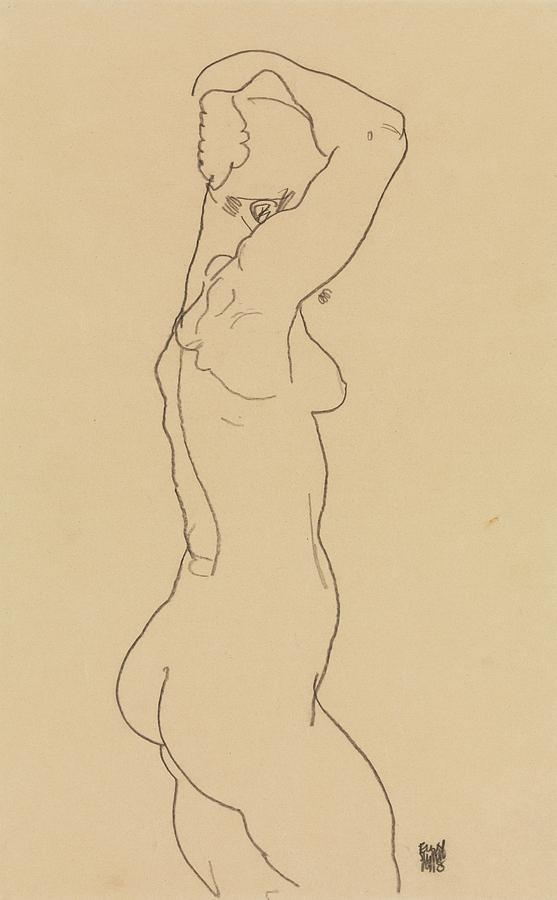 Standing Nude, Facing Right by Egon Schiele