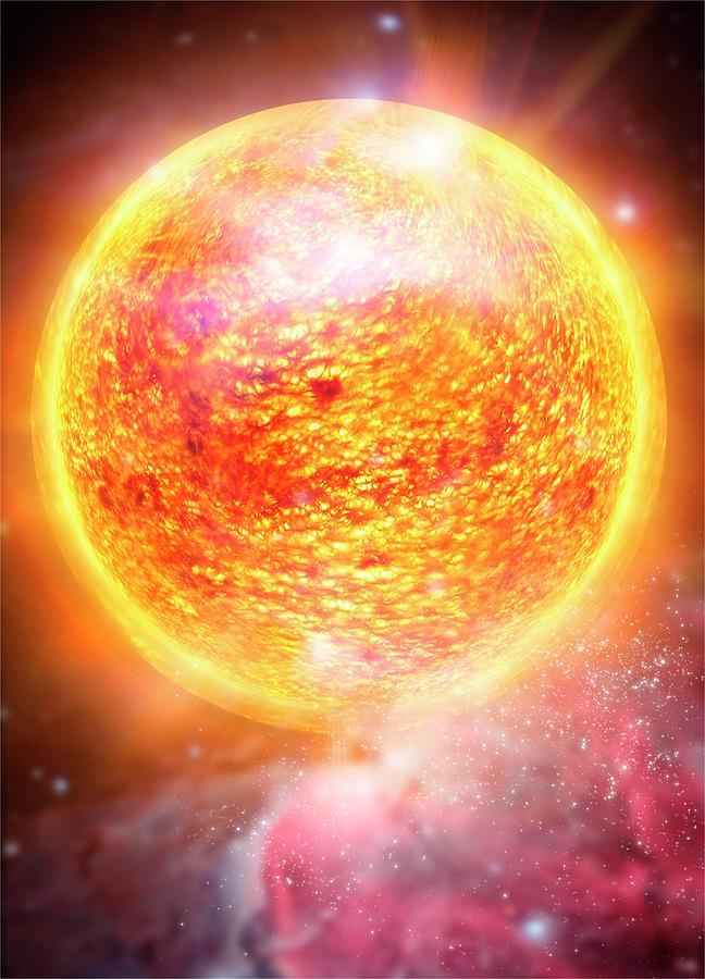 Star And Nebula, Artwork Digital Art by Victor Habbick Visions