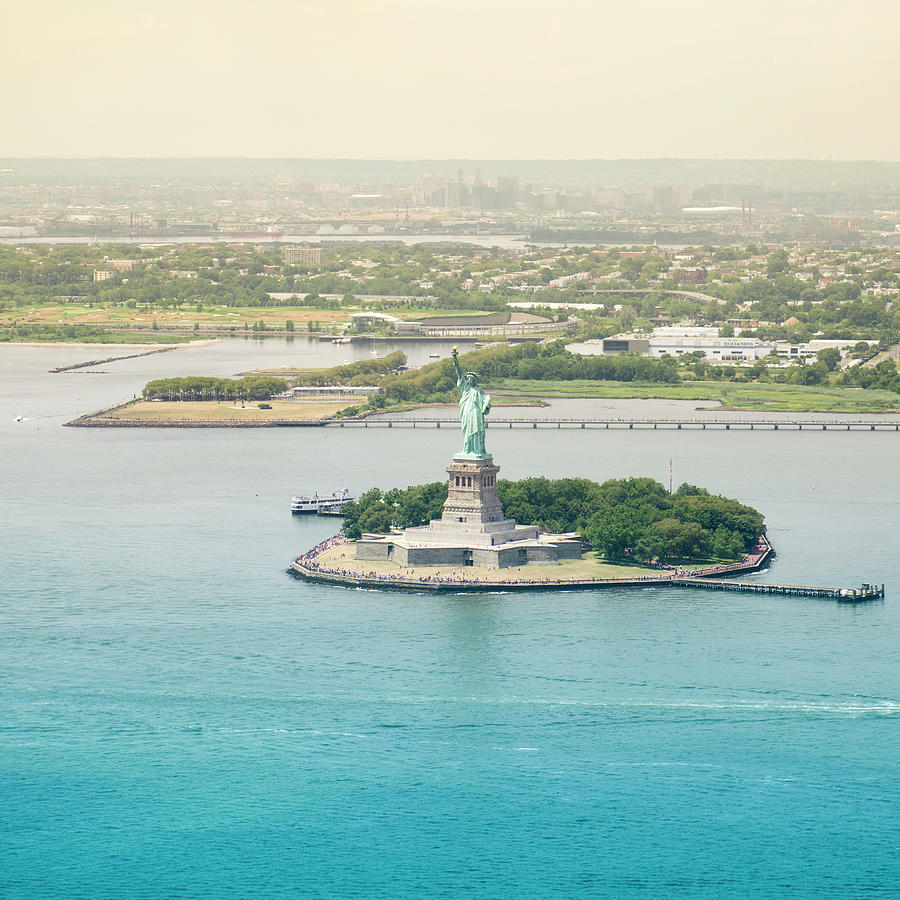 Statue Of Liberty From An Helicopter Photograph by Franckreporter