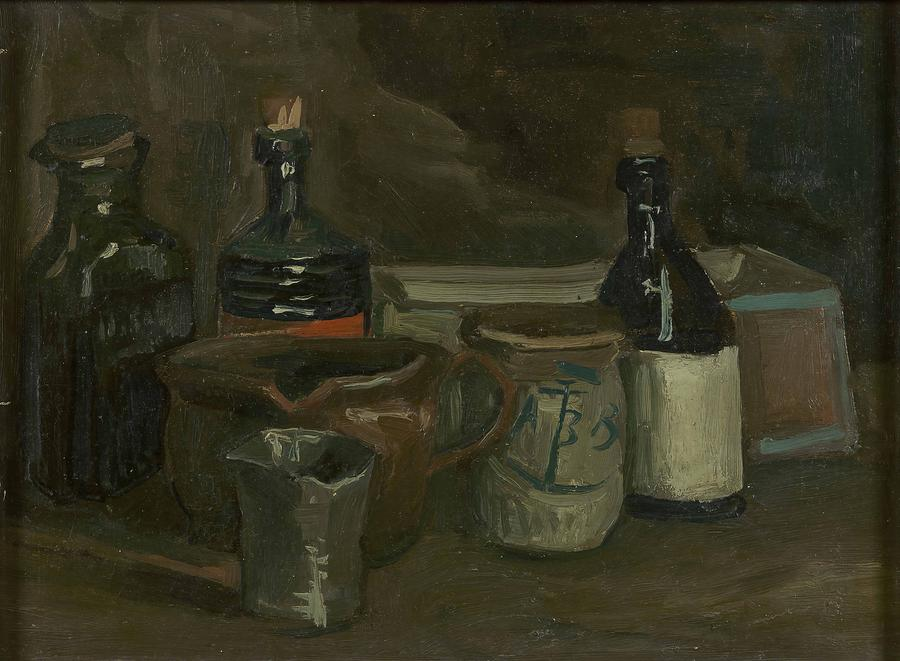 Vincent Van Gogh Painting - Still Life With Bottles And Earthenware by Vincent Van Gogh