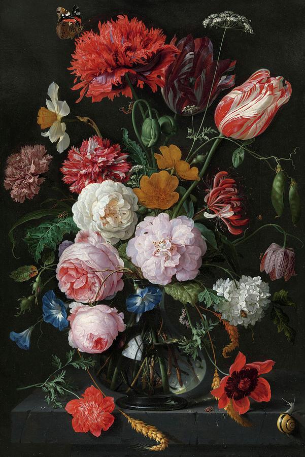 Jan Davidsz De Heem Painting - Still Life With Flowers In A Glass Vase, 1683 by Jan Davidsz de Heem