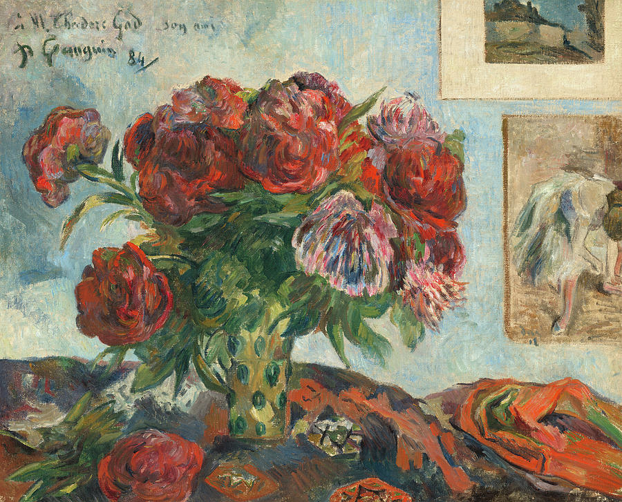 Paul Gauguin Painting - Still-life With Peonies, Circa 1884 by Paul Gauguin