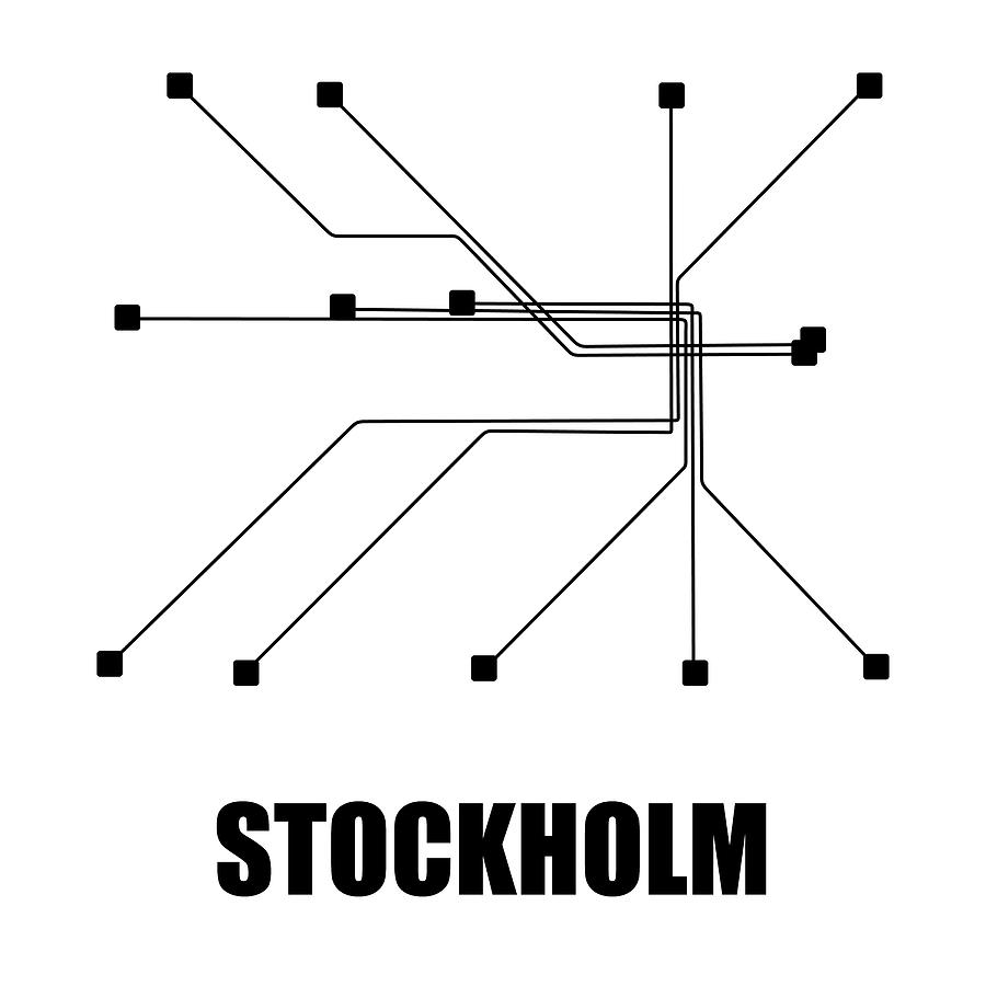 Stockholm Digital Art - Stockholm White Subway Map by Naxart Studio