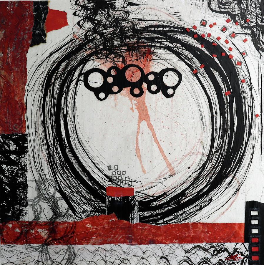 Circle Mixed Media - Strawberry Moon  by Laura Lein-Svencner