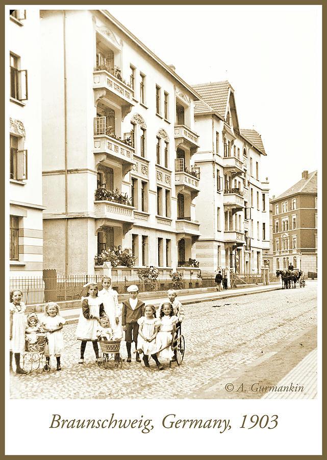 Street Scene with Children, Braunschweig, Germany, 1903, Vintage by A Gurmankin