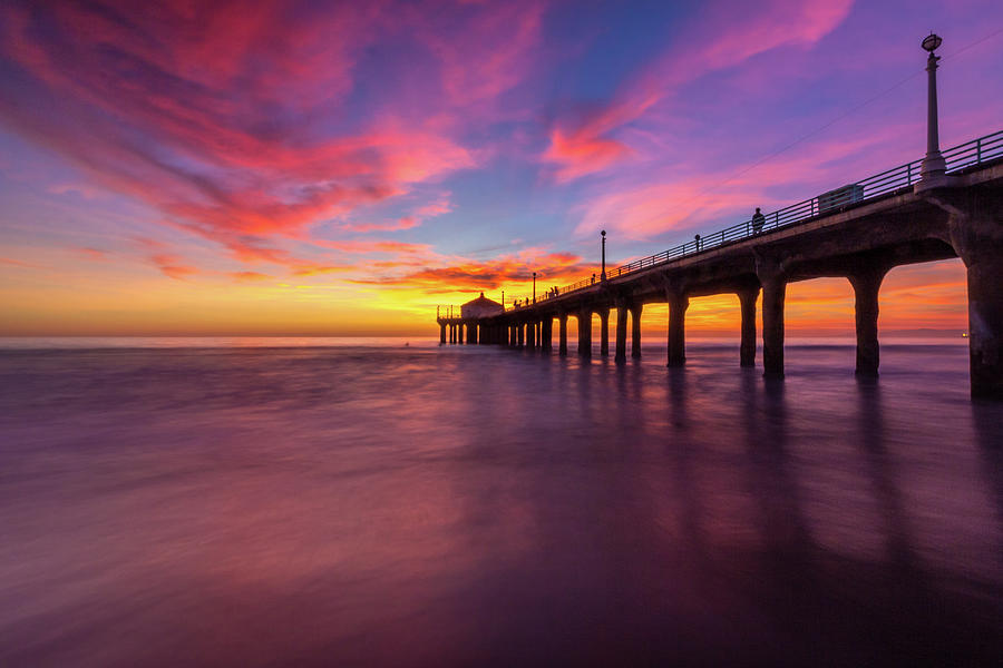 Stunning Sunset At Manhattan Beach Pier Photograph By Andy