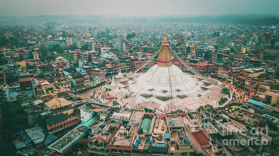 Stupa temple Bodhnath Kathmandu, Nepal from air October 12 2018 by Raimond Klavins