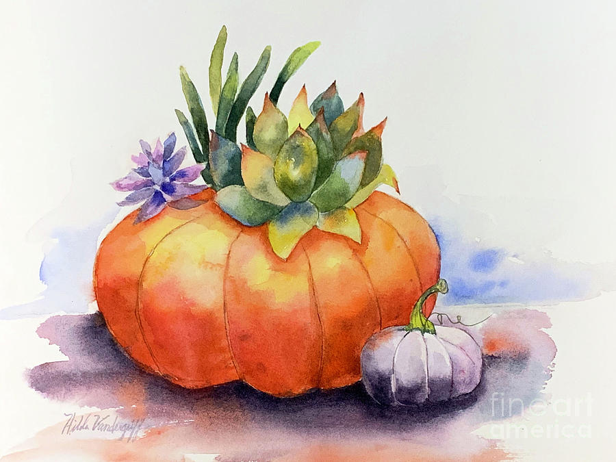 Succulents in Pumpkin by Hilda Vandergriff