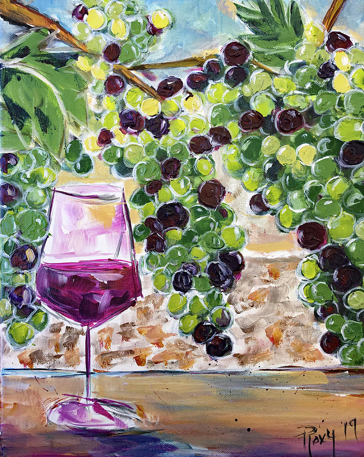 Grapes Painting - Summer Grapes by Roxy Rich