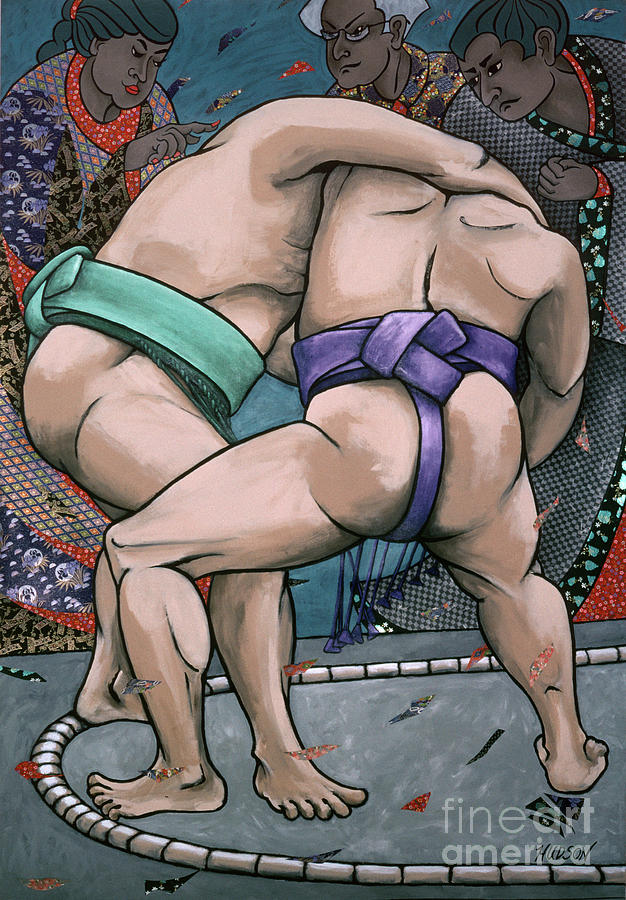 sumo wrestling painting - Sumo Wrestlers I by Sharon Hudson