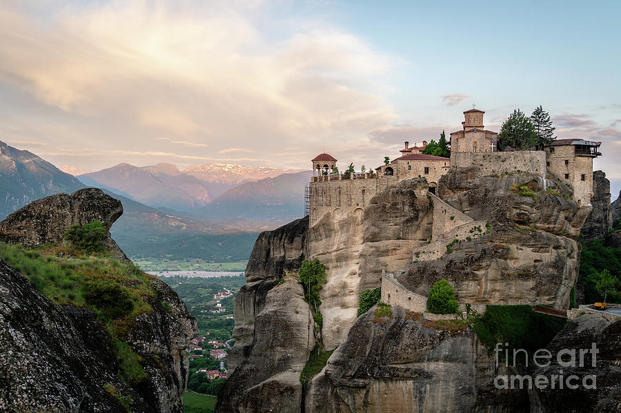 Sunrise over a Meteora monastery in Greece by Didier Marti
