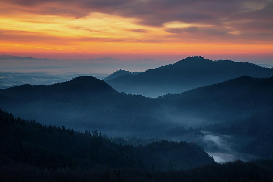 Sunrise view across to Sv Jost from the Jamnik Hills by Ian Middleton