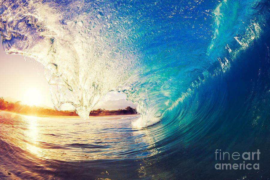 Tide Photograph - Sunrise Wave, Tropical Island Atoll by Epicstockmedia