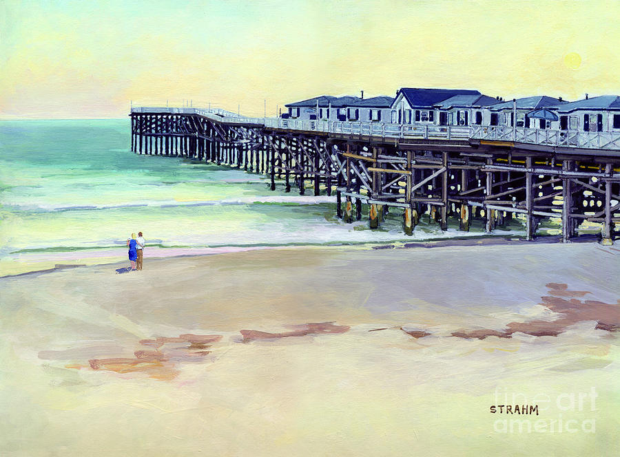 Sunset at Crystal Pier Pacific Beach San Diego California by Paul Strahm