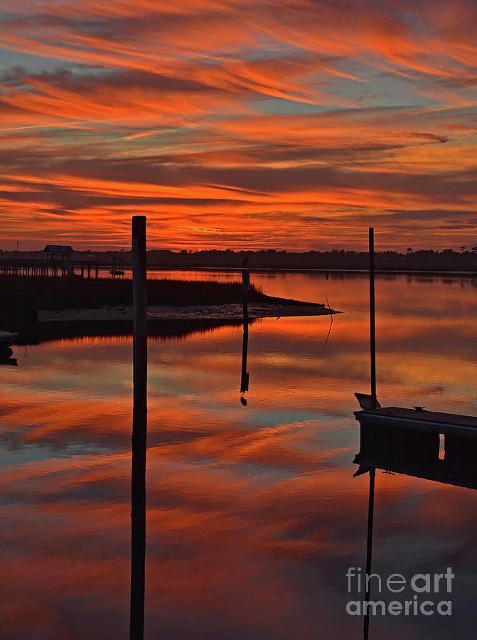 Sunset At Marlin Quay Marina by Kathy Baccari