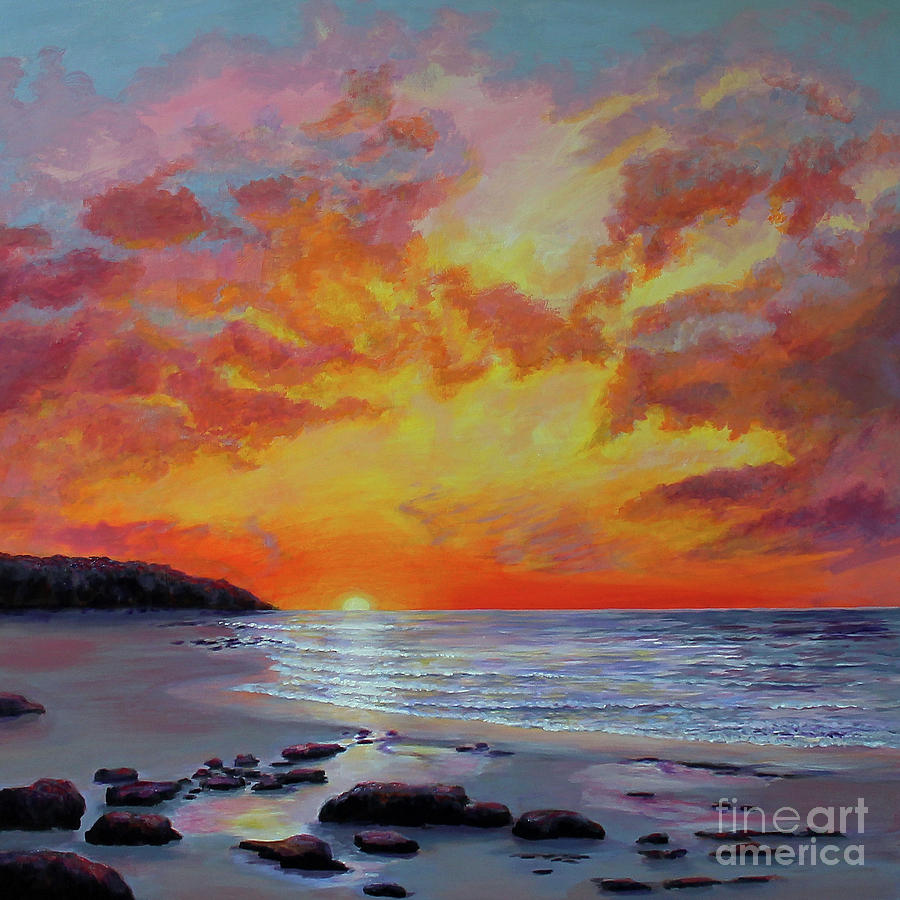 Sunset Painting - Sunset Beach 1 by Sandra Francis