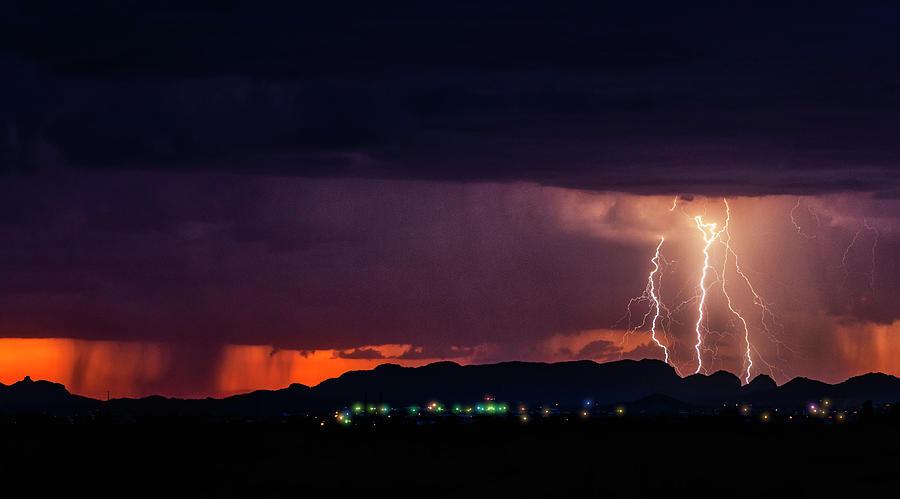 Lightning Photograph - Sunset Lightning  by Saija Lehtonen