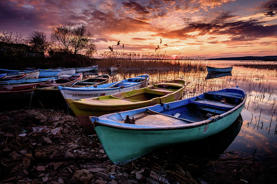 Water Photograph - Sunset by Okan YILMAZ