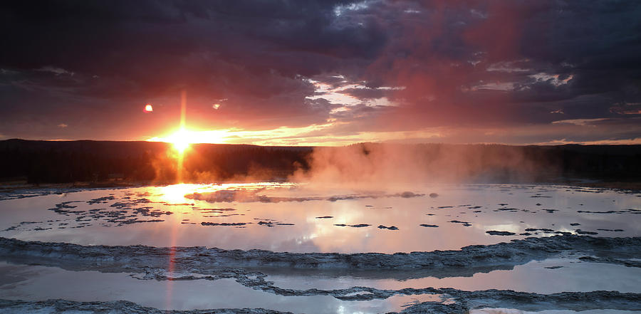 Sunset over Great Fountain Geyser by Jean Clark