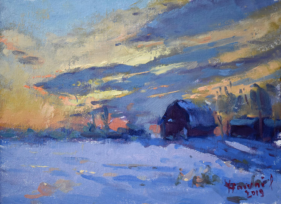 Sunset Painting - Sunset Over The Farm by Ylli Haruni